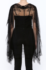 NU Denmark Black Beaded Poncho Top - Back cropped