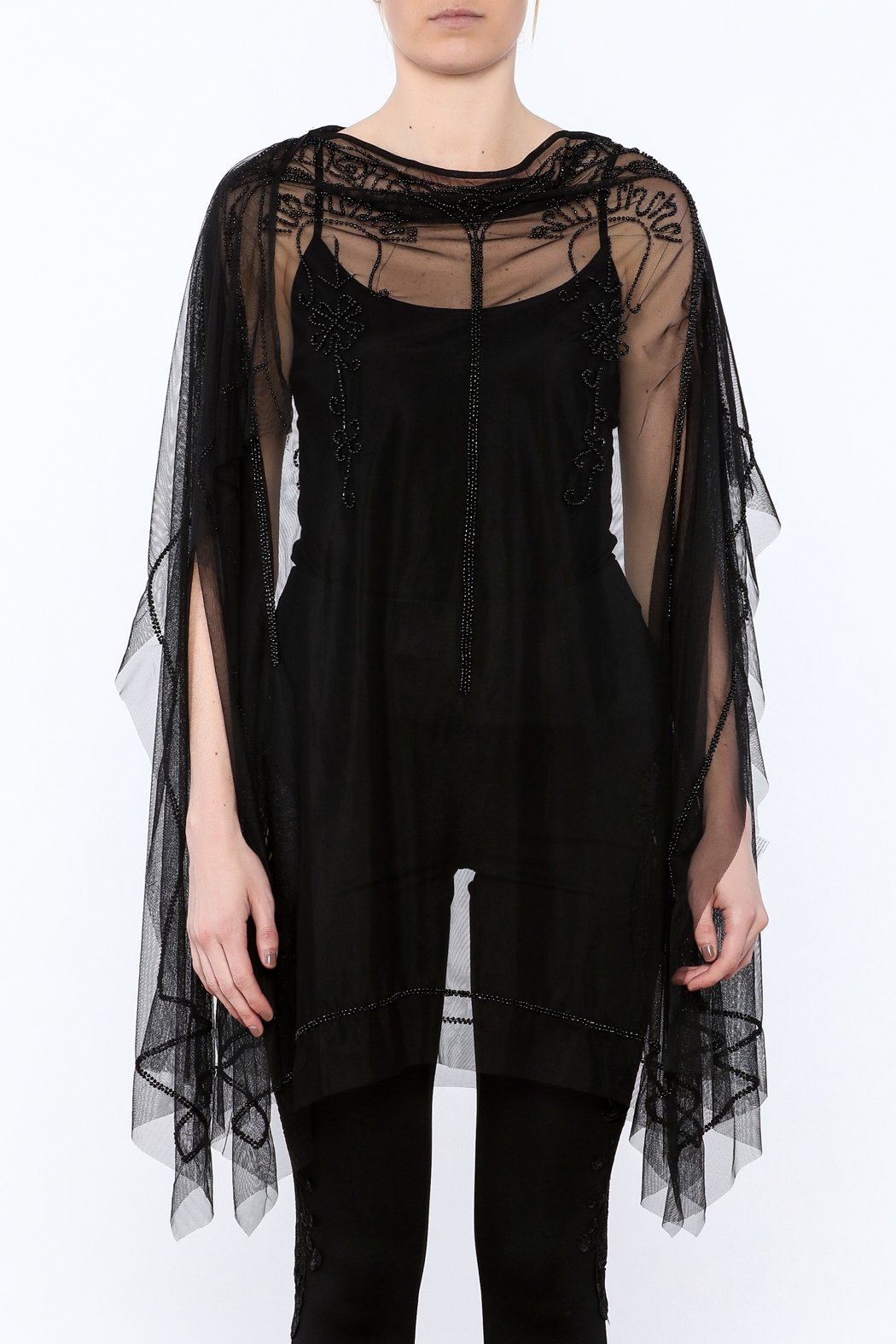 NU Denmark Black Beaded Poncho Top - Side Cropped Image