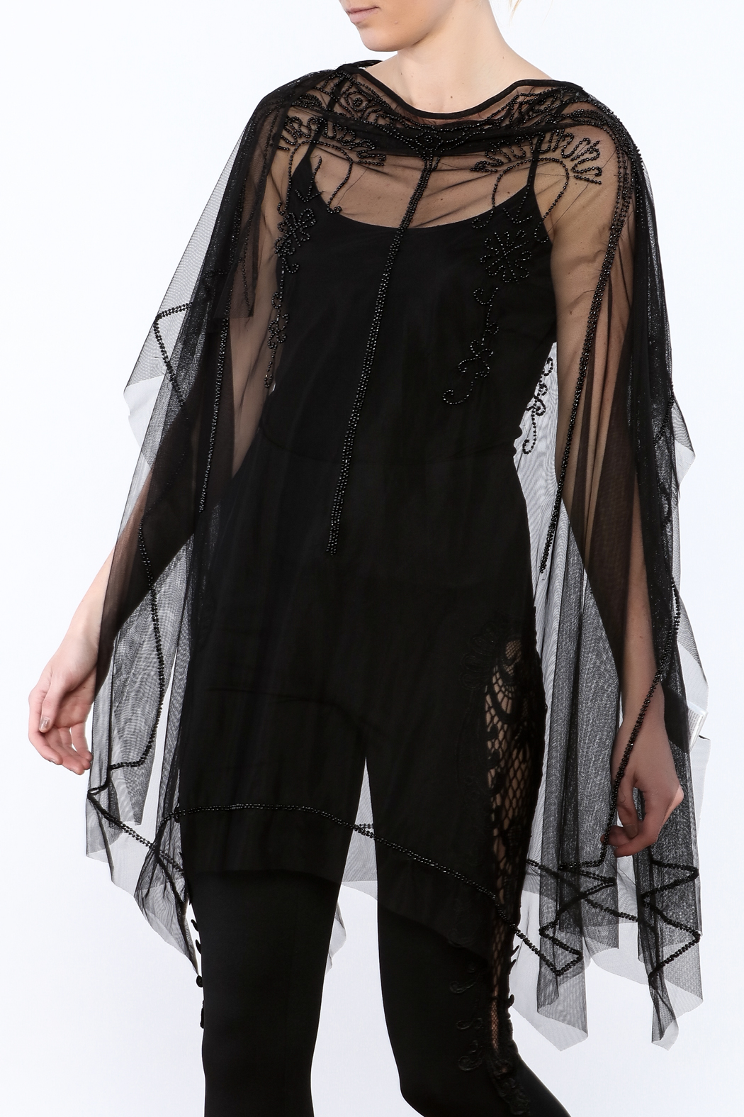 NU Denmark Black Beaded Poncho Top - Main Image