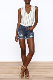 NU New York Acid Washed Denim Shorts - Front full body