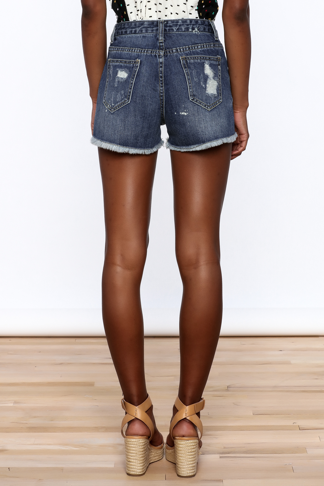 NU New York Acid Washed Denim Shorts - Back Cropped Image
