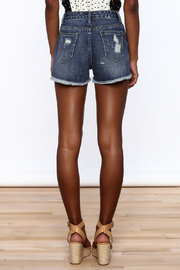 NU New York Acid Washed Denim Shorts - Back cropped