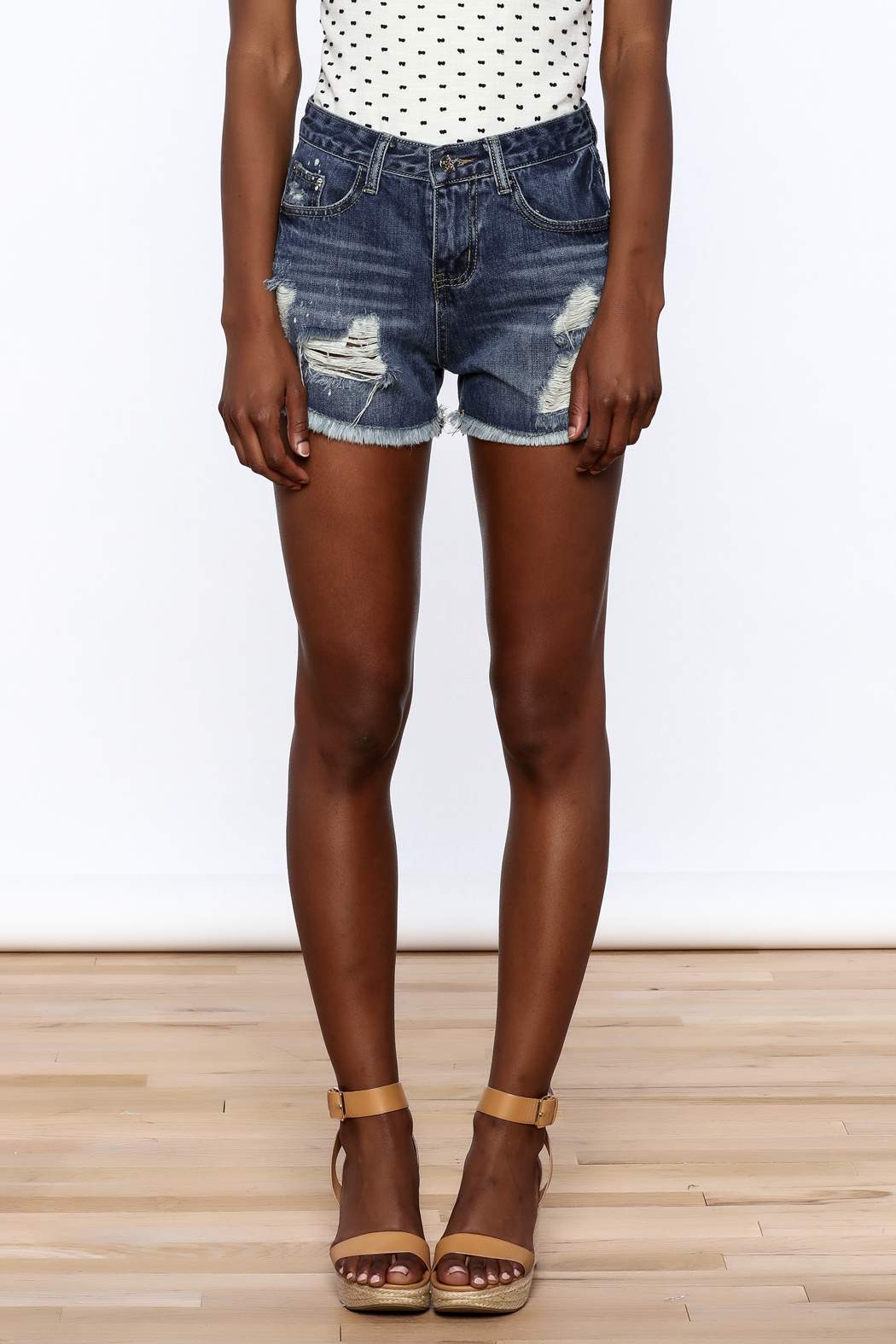 NU New York Acid Washed Denim Shorts - Side Cropped Image