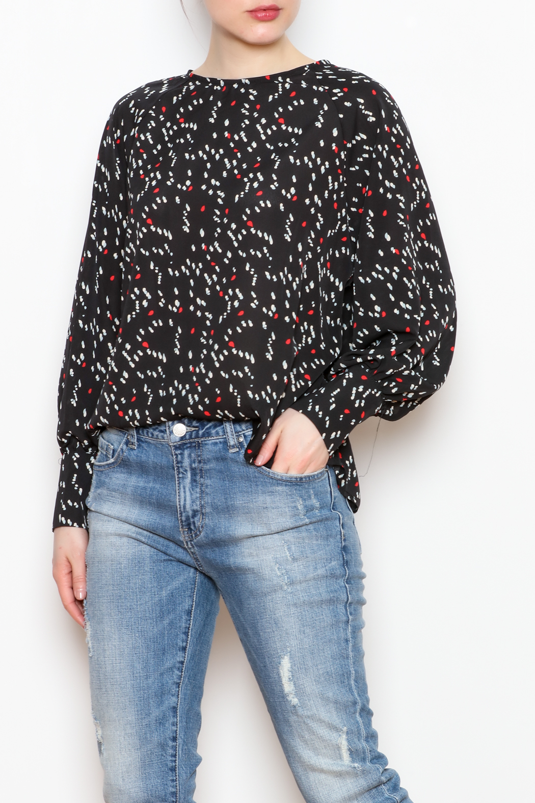 NU New York Back Button Printed Blouse - Main Image