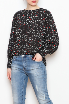 NU New York Back Button Printed Blouse - Product List Image