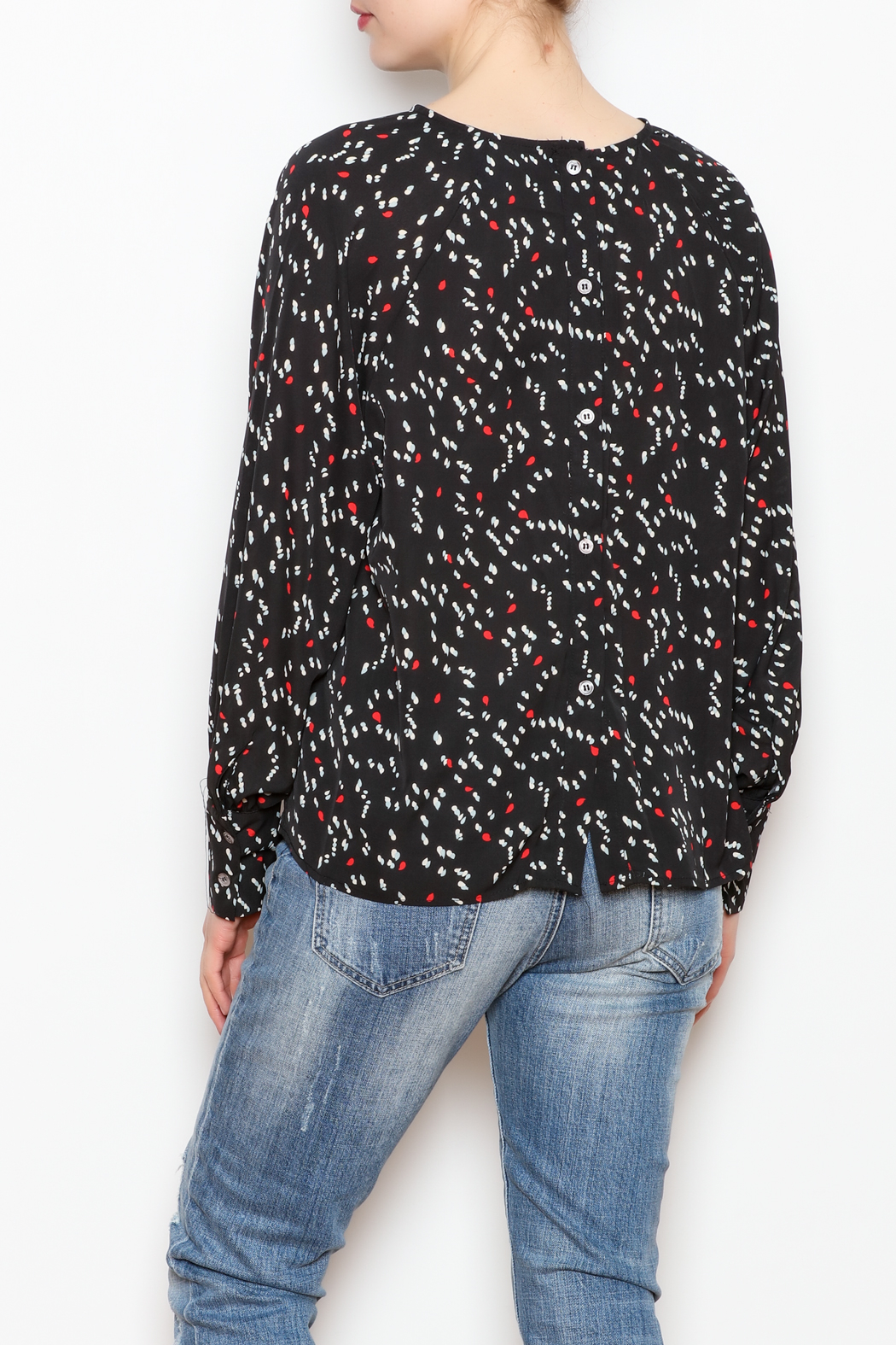 NU New York Back Button Printed Blouse - Back Cropped Image