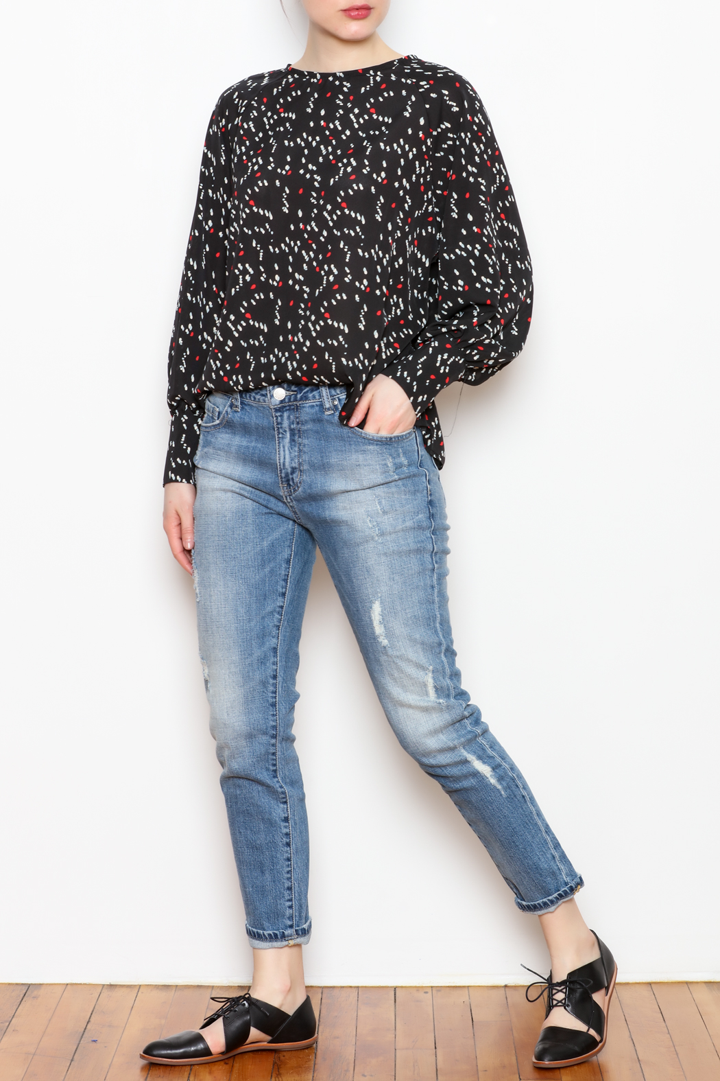 NU New York Back Button Printed Blouse - Front Full Image