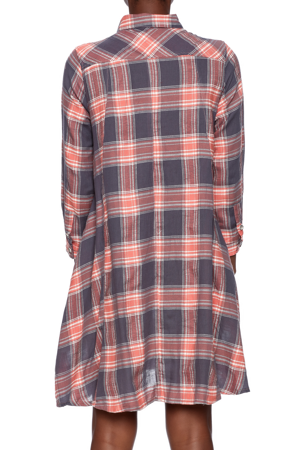NU New York Button Down Plaid Dress - Back Cropped Image