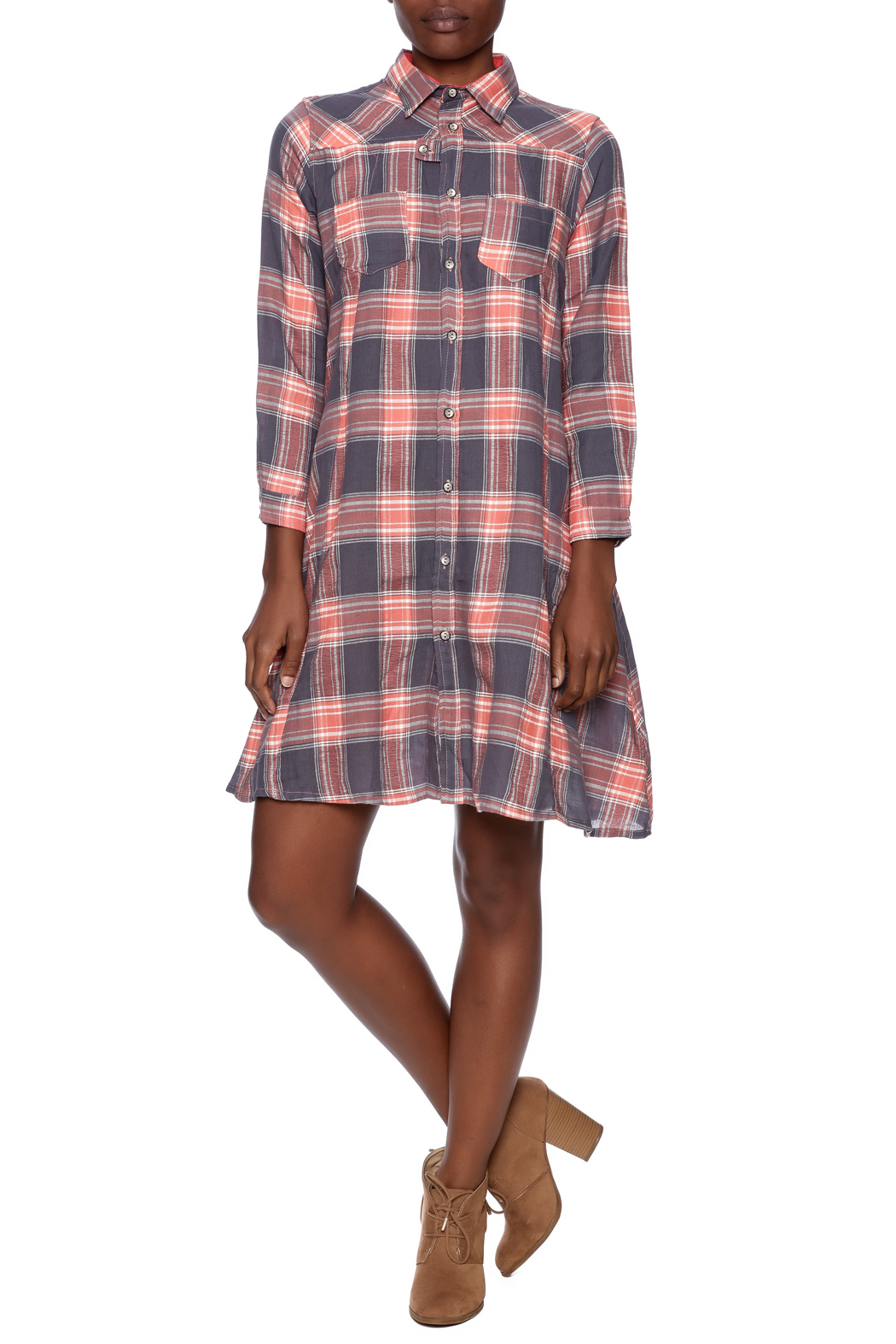 NU New York Button Down Plaid Dress - Front Full Image