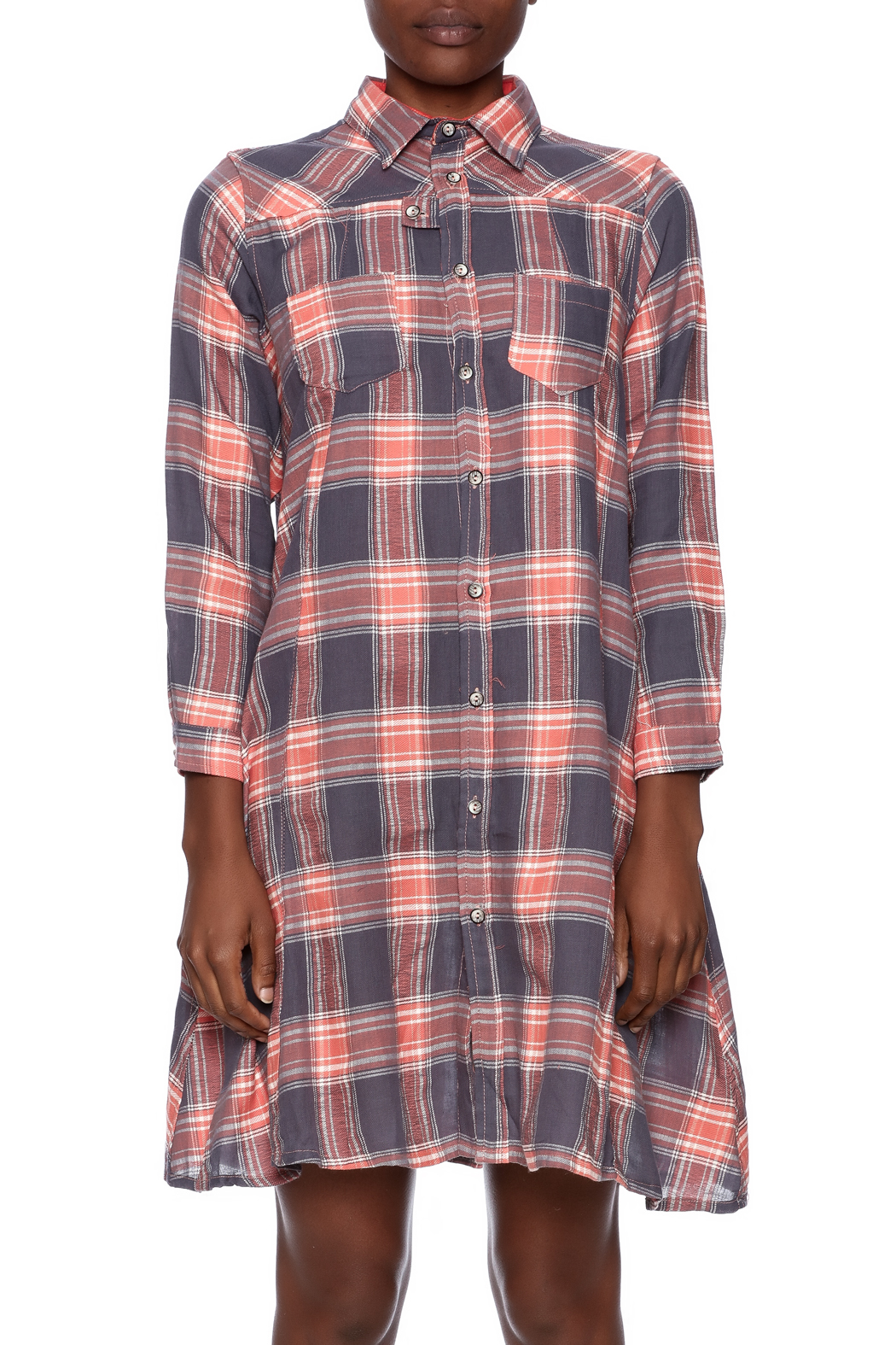 NU New York Button Down Plaid Dress - Side Cropped Image
