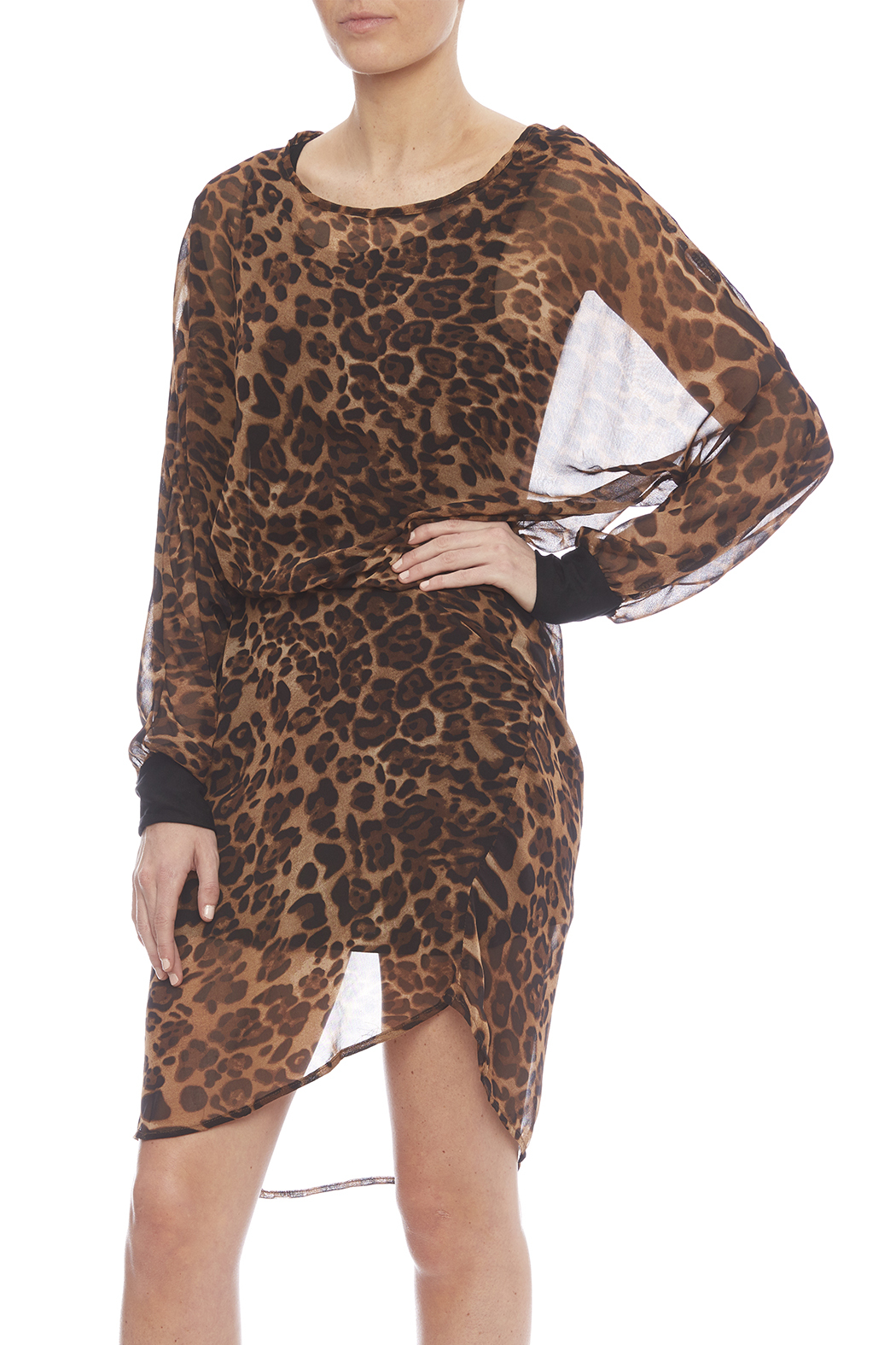 NU New York Chiffon Leopard Dress - Main Image