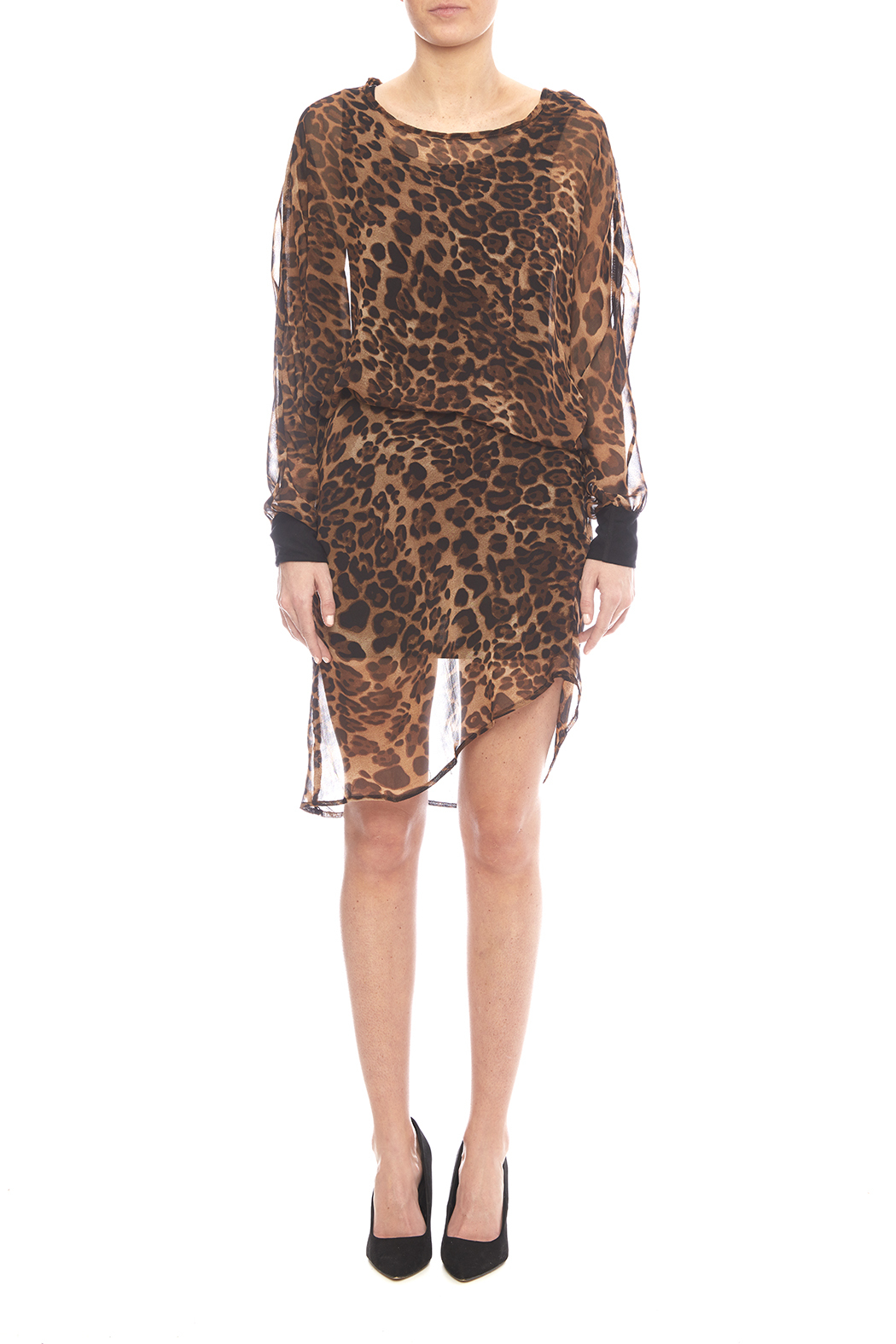 NU New York Chiffon Leopard Dress - Side Cropped Image