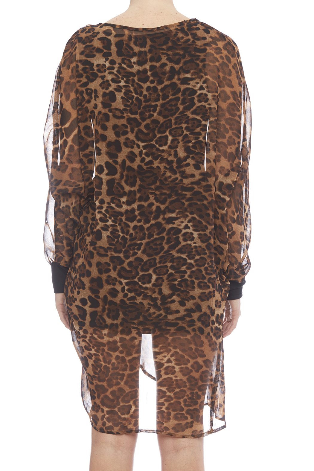 NU New York Chiffon Leopard Dress - Back Cropped Image