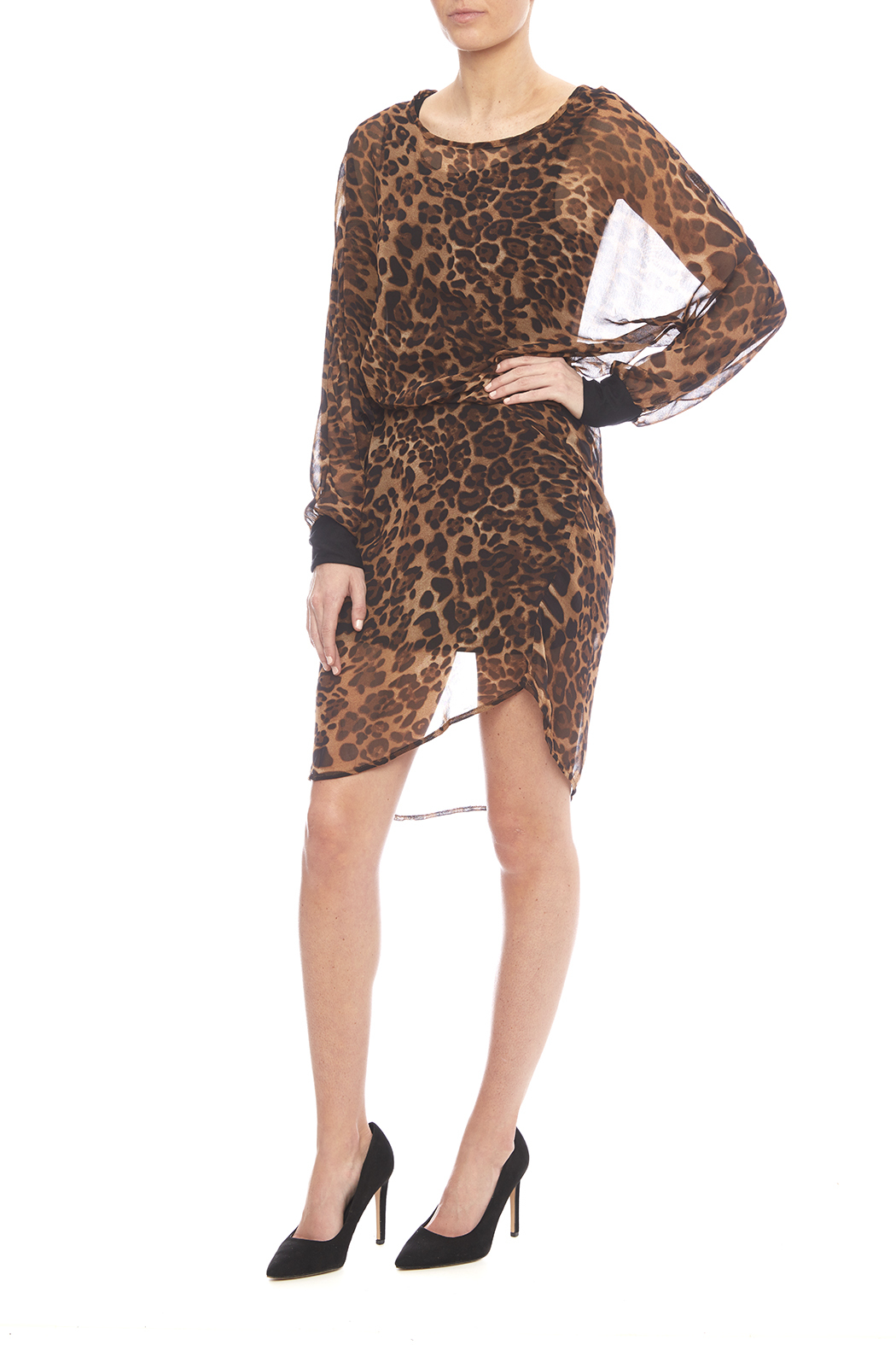 NU New York Chiffon Leopard Dress - Front Full Image