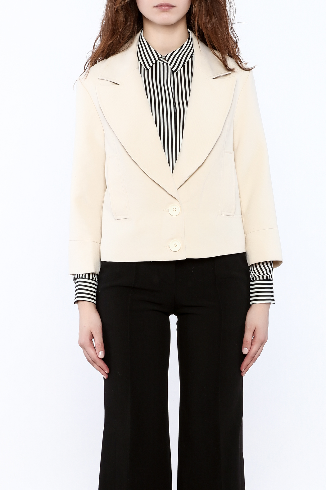 NU New York Cream Cropped Blazer - Front Full Image