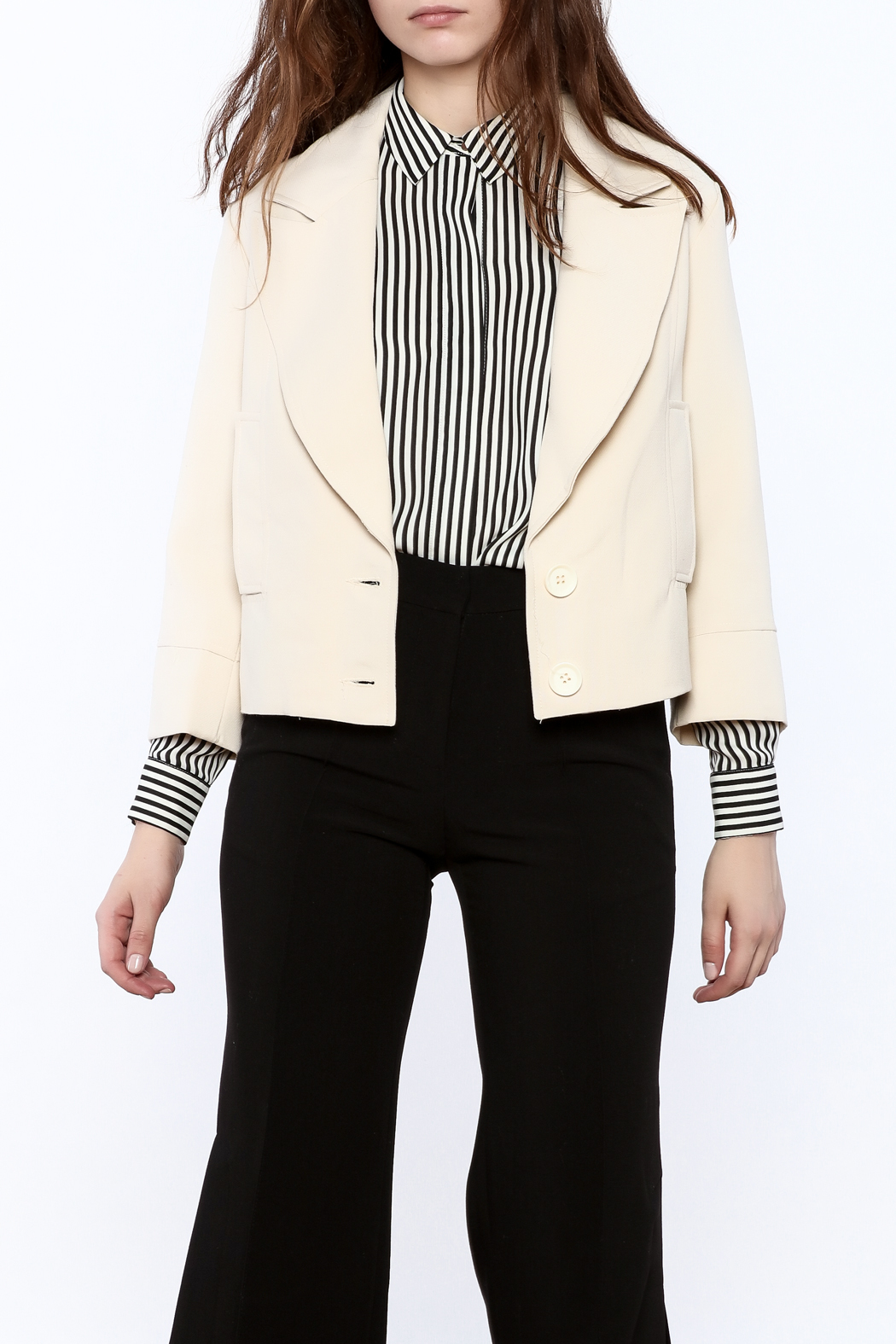 NU New York Cream Cropped Blazer - Main Image