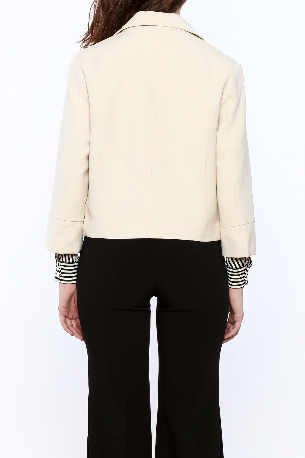 NU New York Cream Cropped Blazer - Back Cropped Image