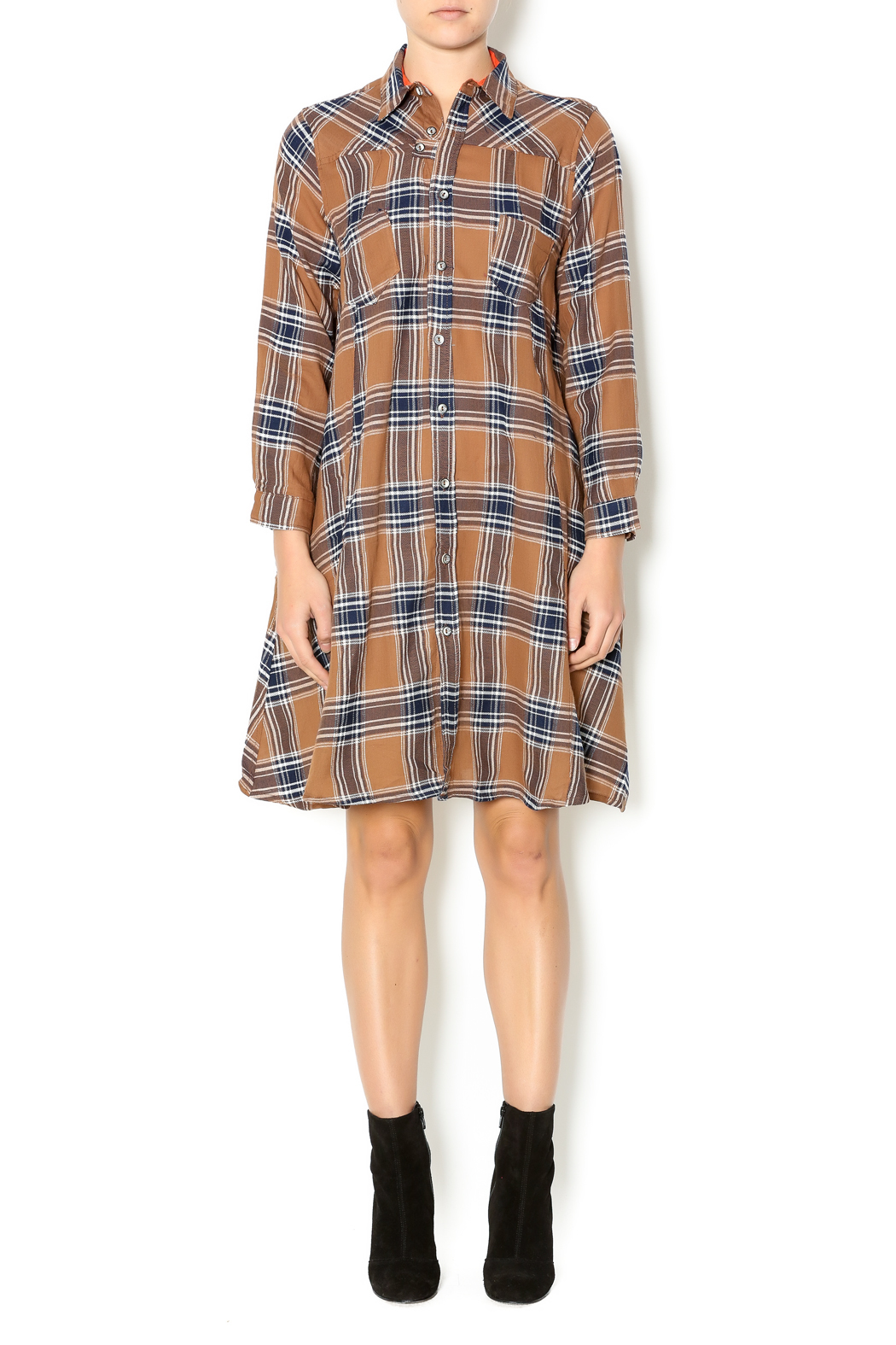 NU New York Fearless Flannel Dress - Front Full Image
