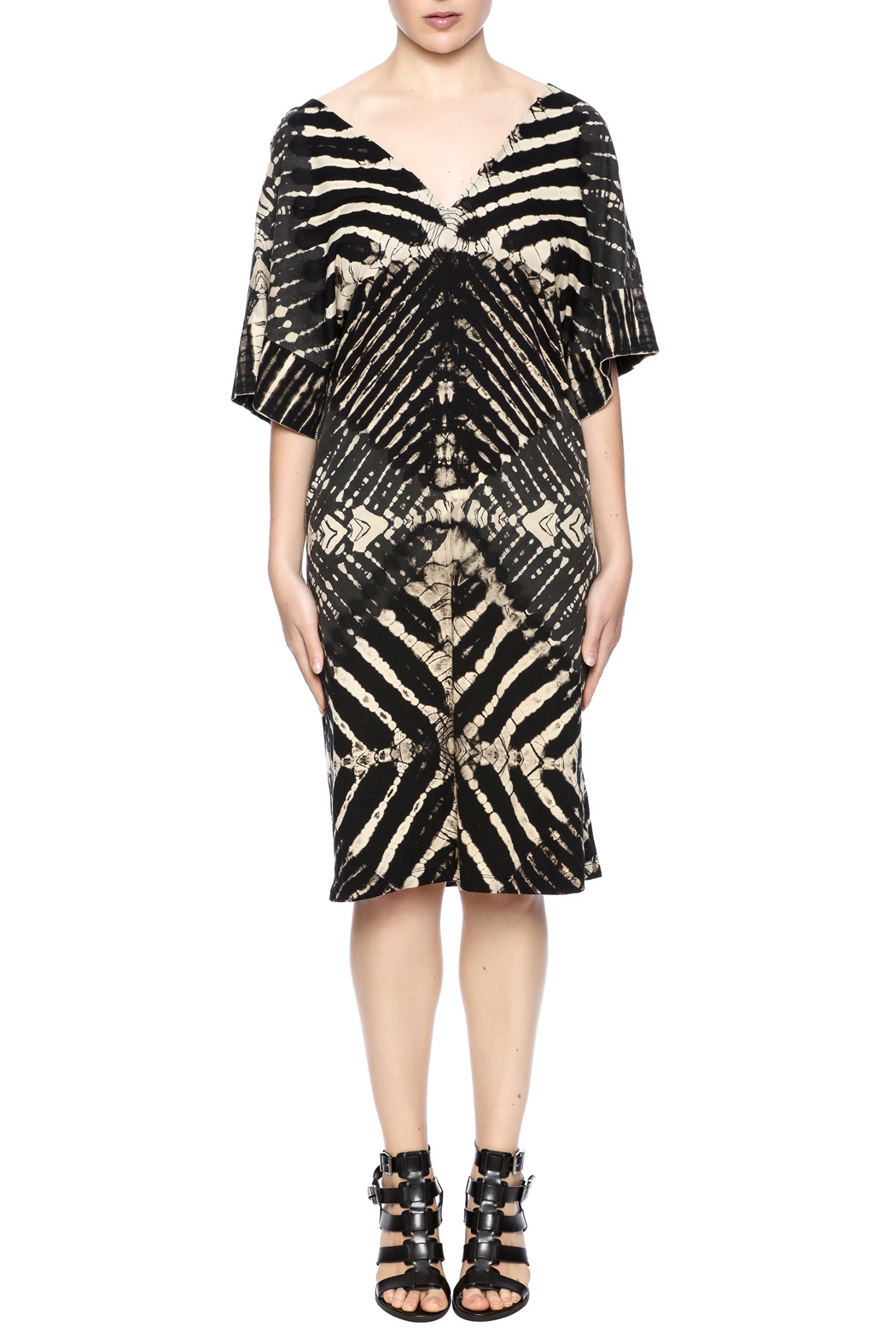 NU New York Ink Paper Kimono Dress - Front Cropped Image