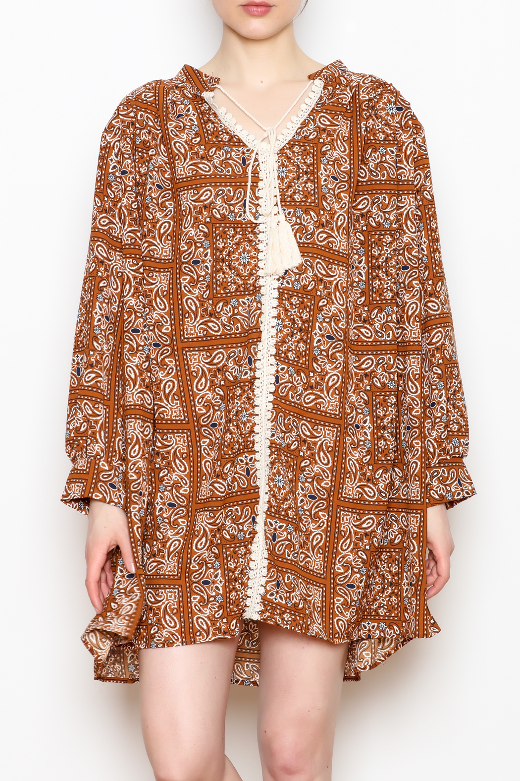 NU New York Paisley Tunic Dress - Front Cropped Image