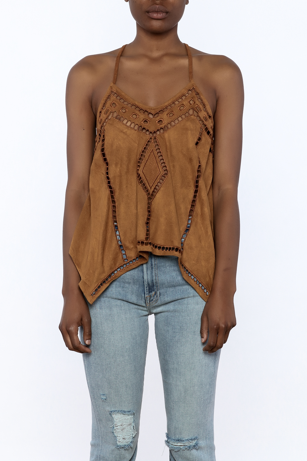 NU New York Suedette Sleeveless Top - Side Cropped Image