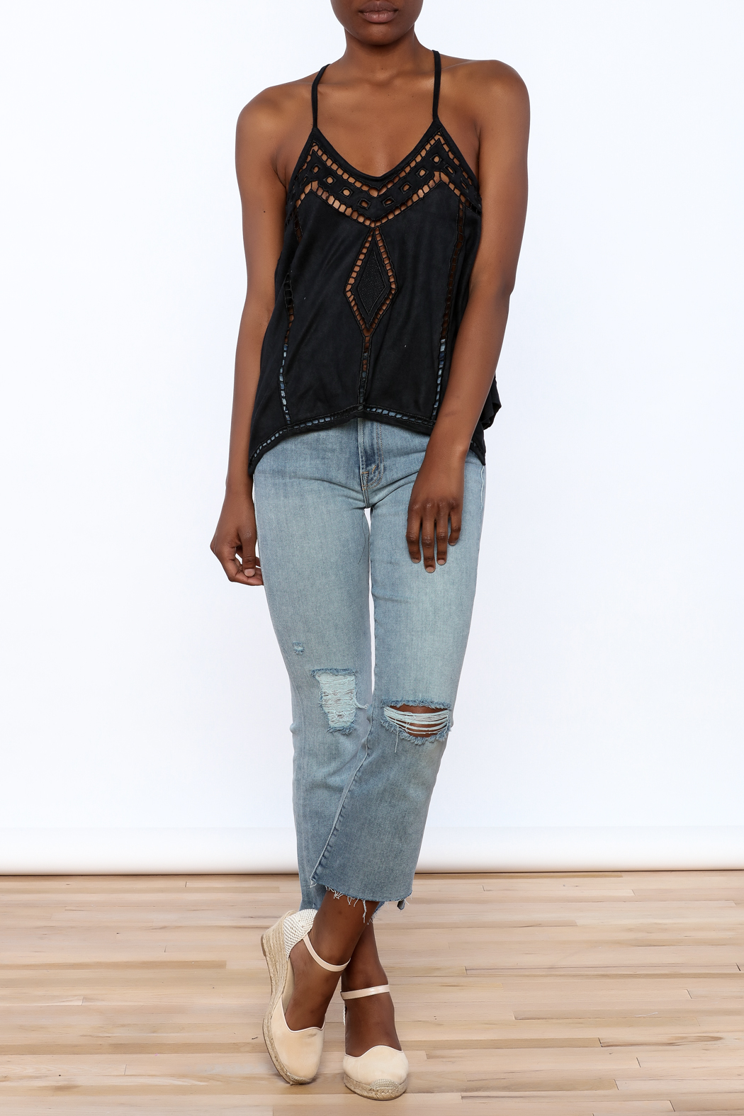 NU New York Suedette Sleeveless Top - Front Full Image