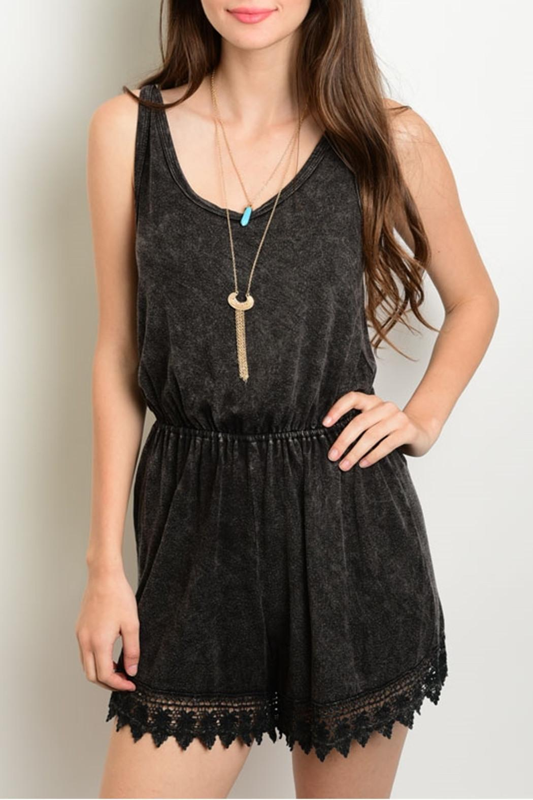 Nu Label Charcoal Scalloped Romper - Main Image