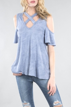 Shoptiques Product: Blue Cold Shoulder Top