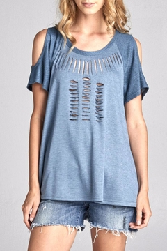 Shoptiques Product: Distressed Cold Shoulder Top