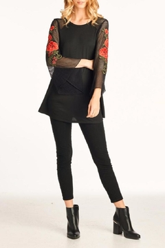 Shoptiques Product: Mesh-Sleeve Black Top