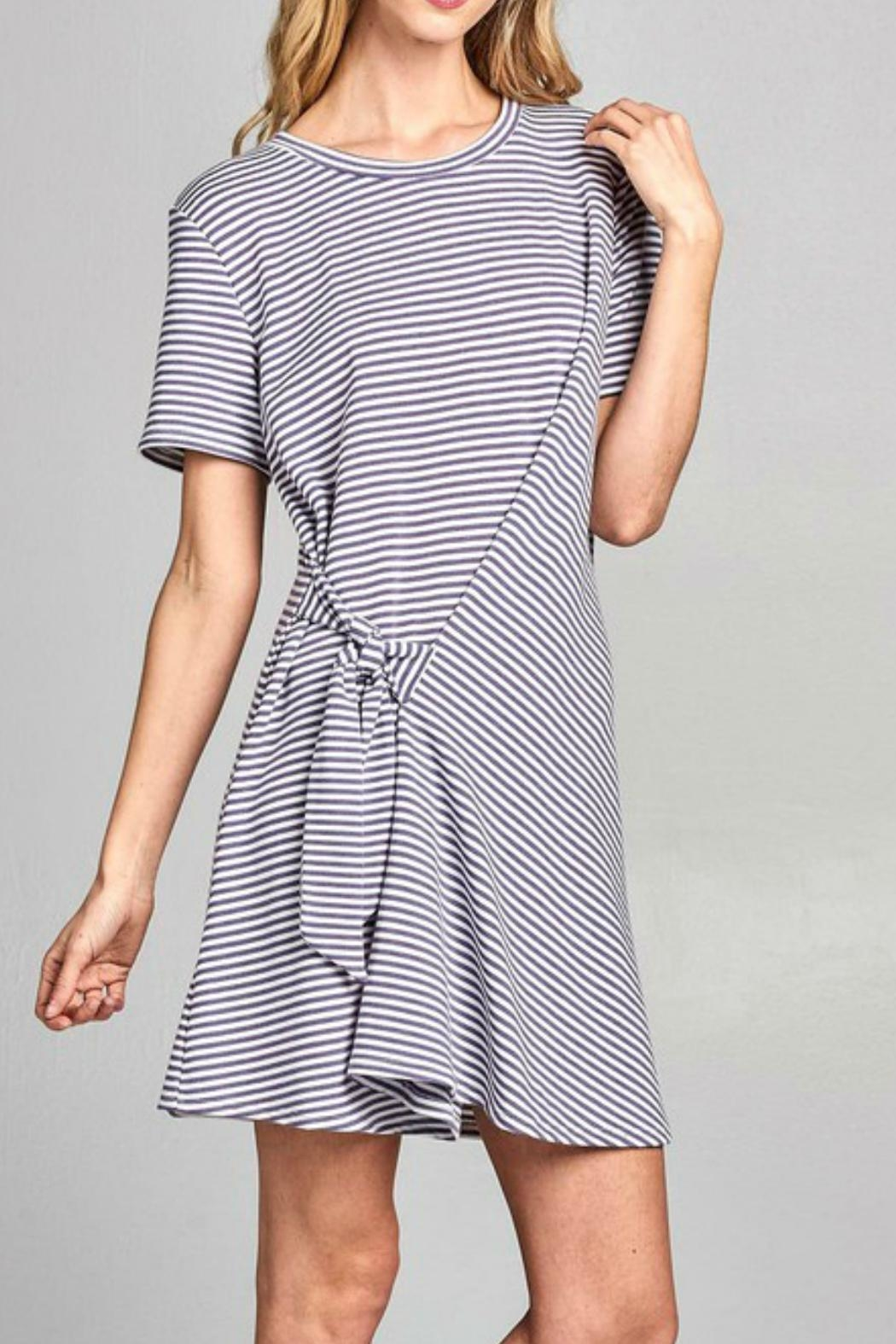 Nu Label Tie-Accent Striped Dress - Front Full Image