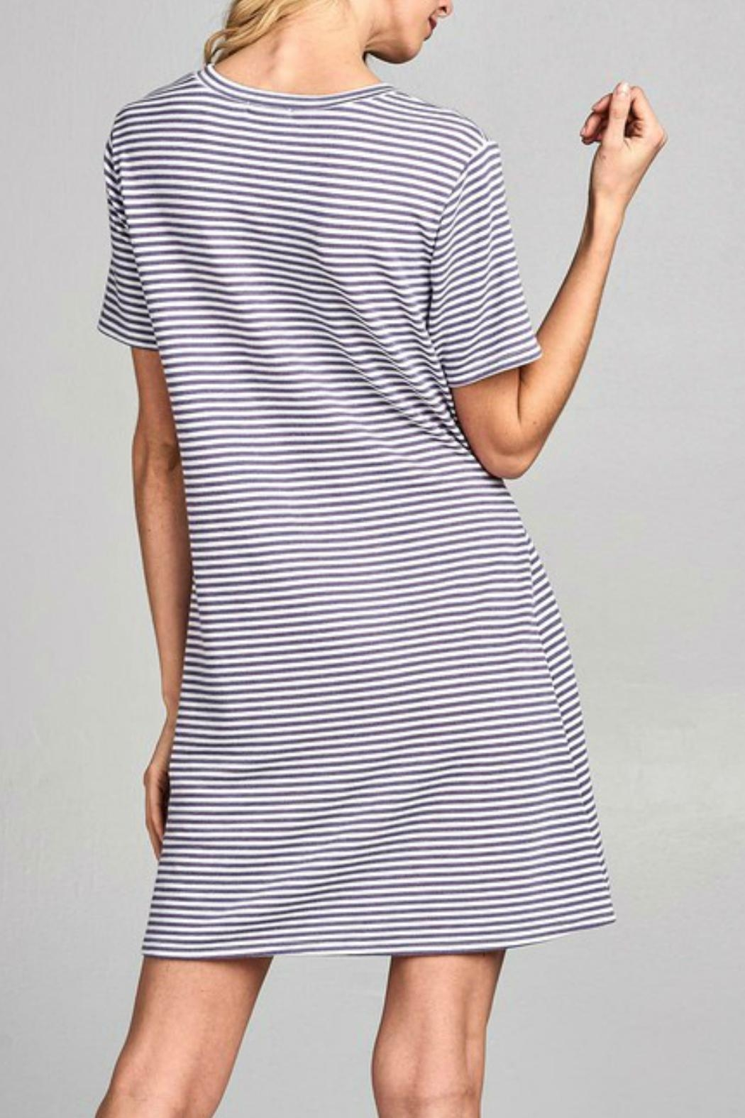Nu Label Tie-Accent Striped Dress - Back Cropped Image