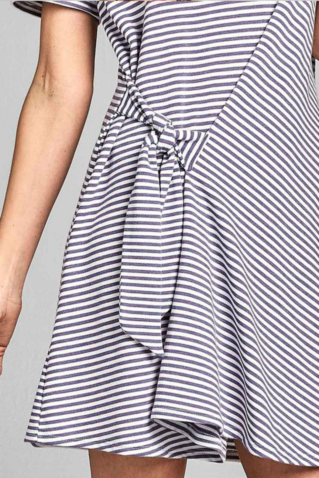 Nu Label Tie-Accent Striped Dress - Side Cropped Image