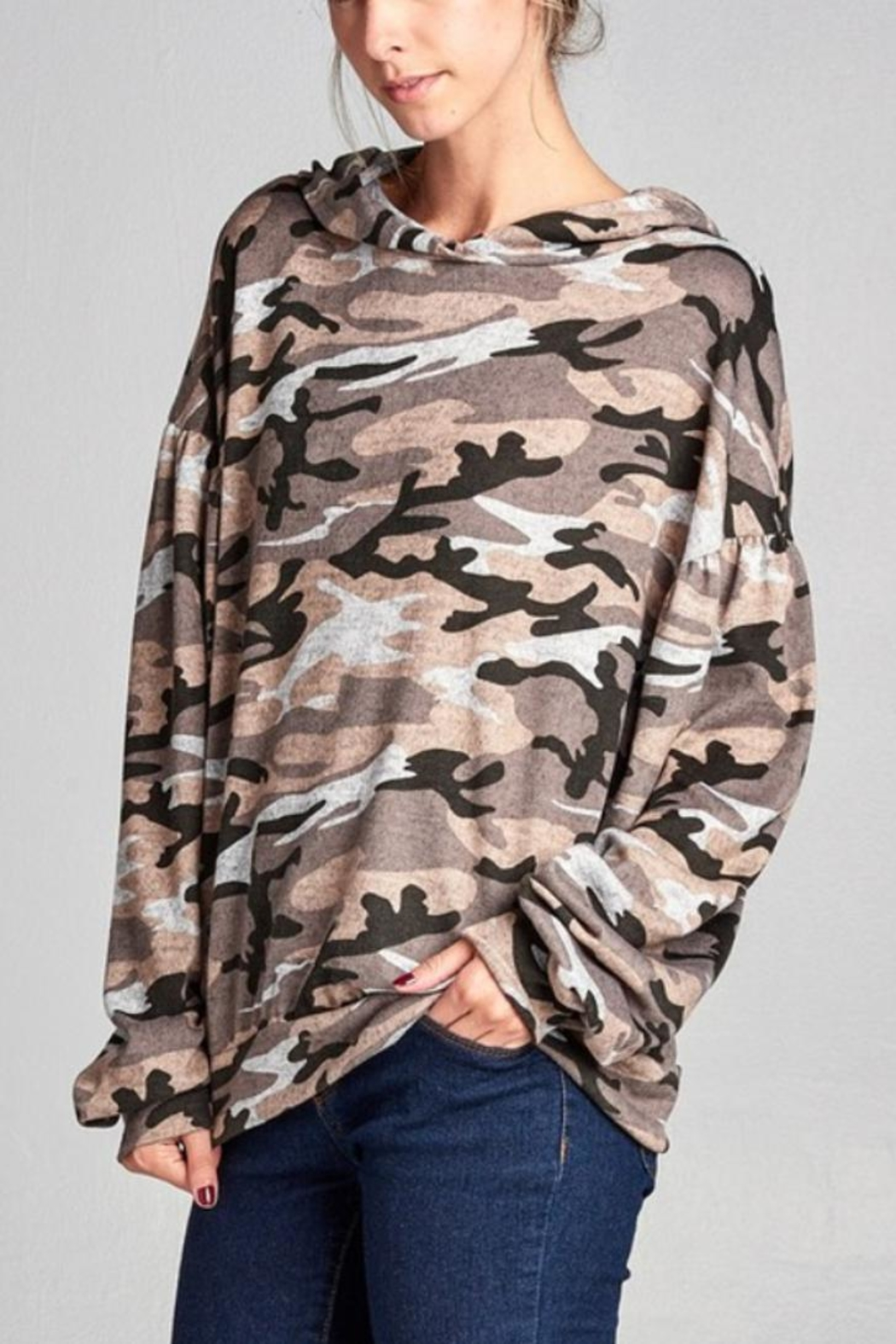 Nu Label Urban Camo Hoodie - Front Cropped Image