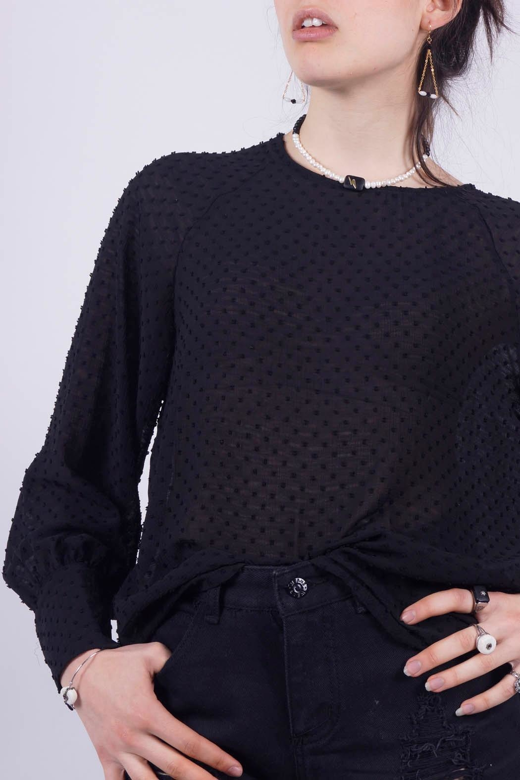 NU New York Sexy Dark Blouse - Front Cropped Image