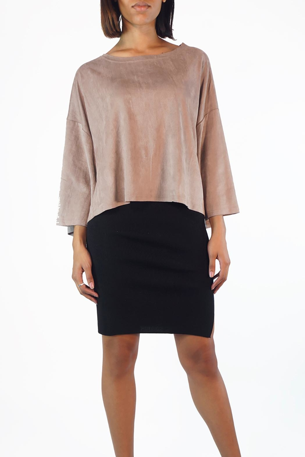 NU New York Taffy Suedette Top - Front Cropped Image