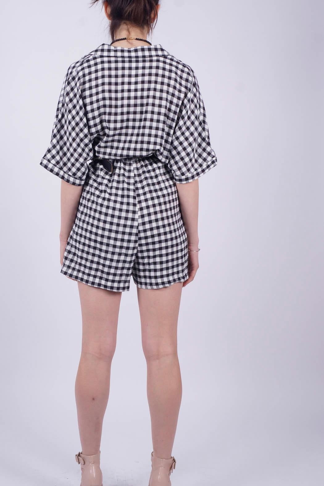 NU New York Vichy Checkered Jumpsuit - Front Full Image