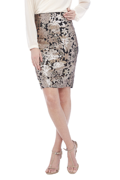 Shoptiques Product: Gold/Tan Printed Skirt