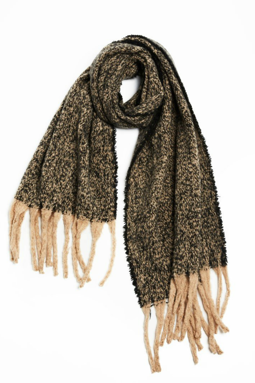 Look by M Nubby contrast fringe scarf - Main Image