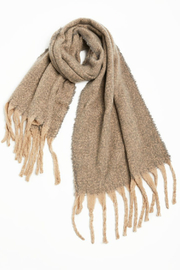 Look by M Nubby contrast fringe scarf - Front cropped