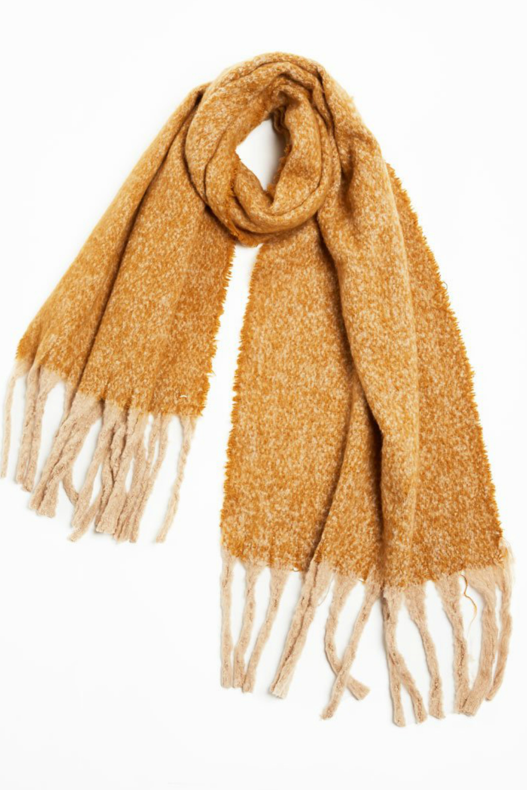 Look by M Nubby contrast fringe scarf - Front Cropped Image