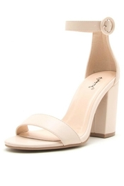 Qupid Nude Chunky Heels - Front cropped