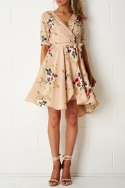frontrow Nude-Floral Wrap-Effect Dress - Product Mini Image