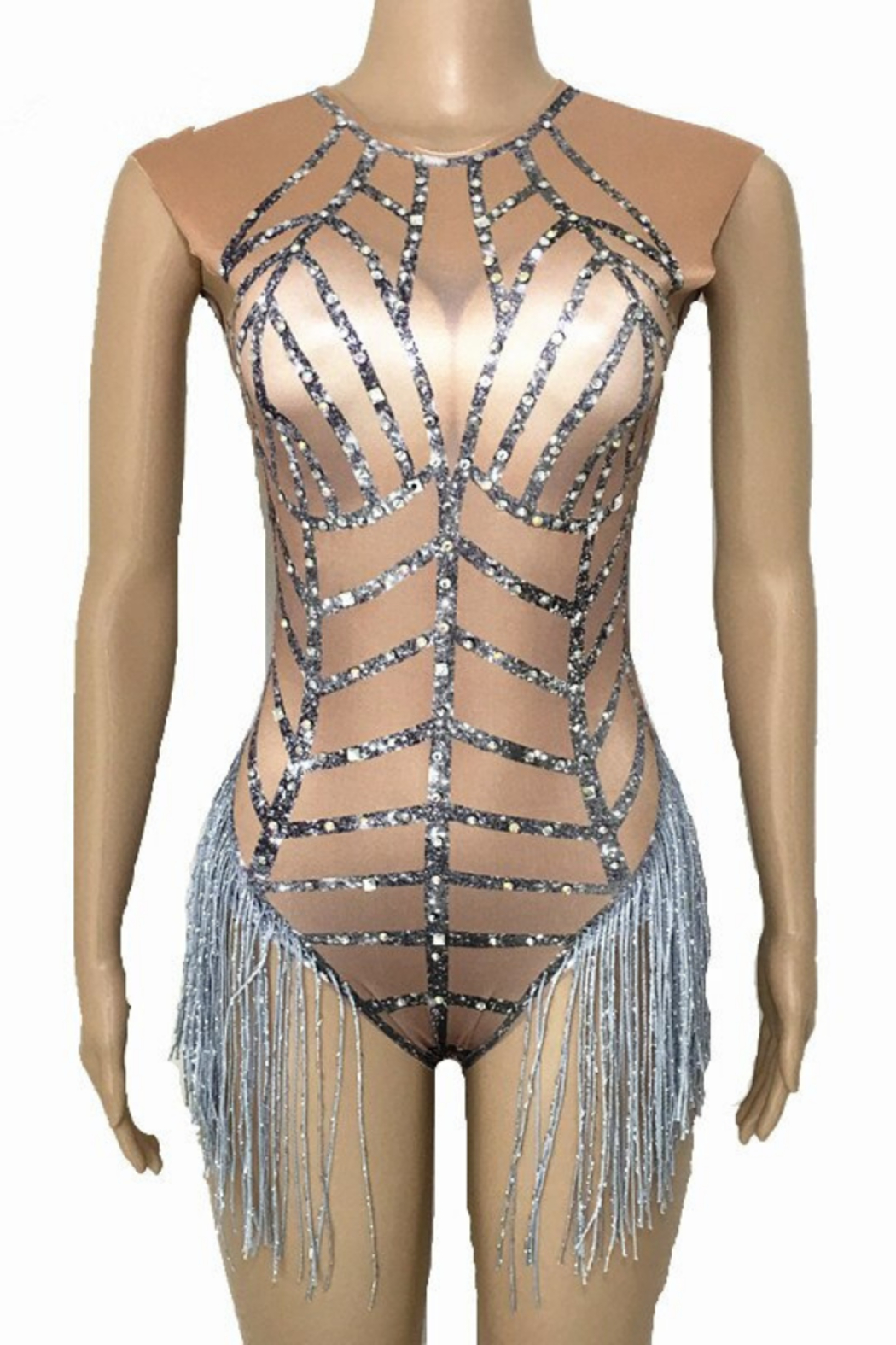 Tiny House of Fashion Nude Fringe Bodysuit - Main Image