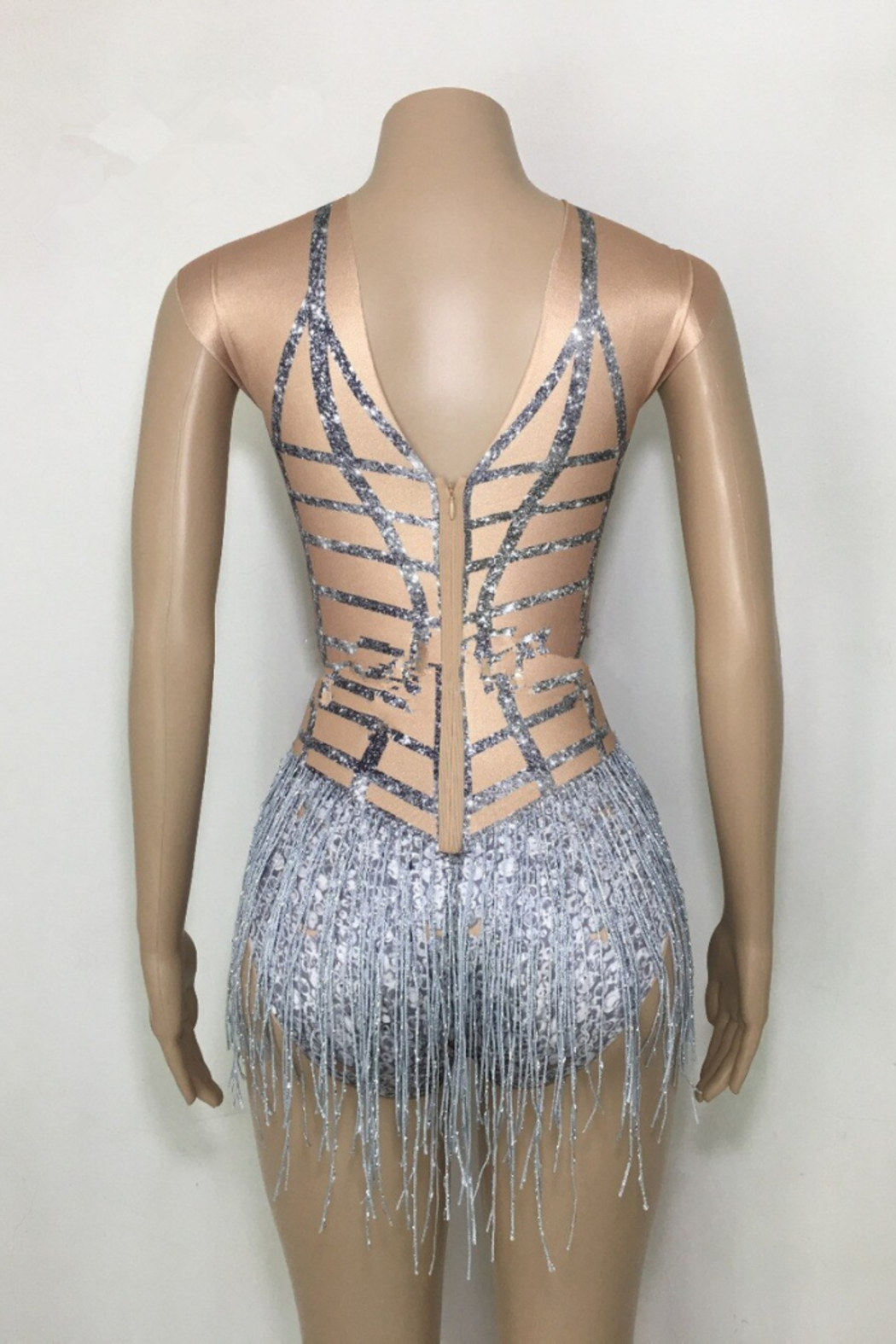 Tiny House of Fashion Nude Fringe Bodysuit - Front Full Image