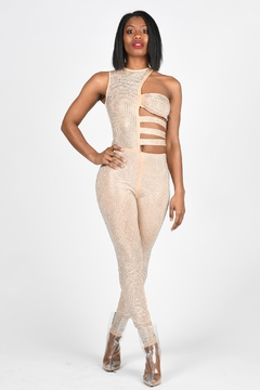 Tiny House of Fashion Nude Gem Cutout Jumpsuit - Alternate List Image