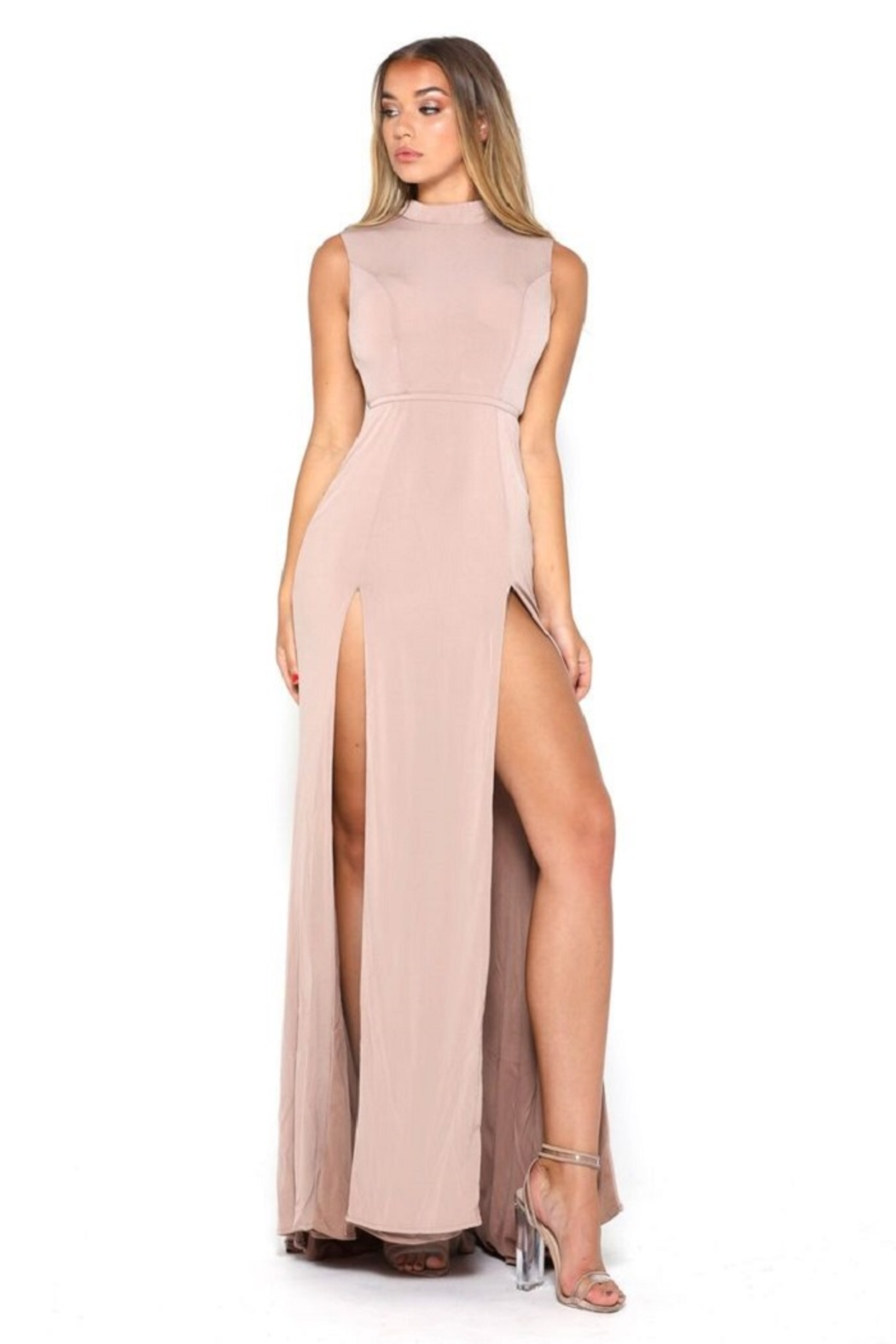 PORTIA AND SCARLETT Nude High Neck Long Semi-Formal Dress - Main Image