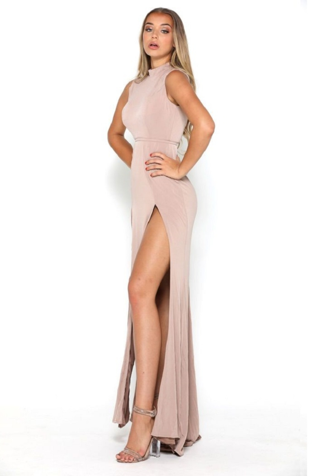 PORTIA AND SCARLETT Nude High Neck Long Semi-Formal Dress - Front Full Image
