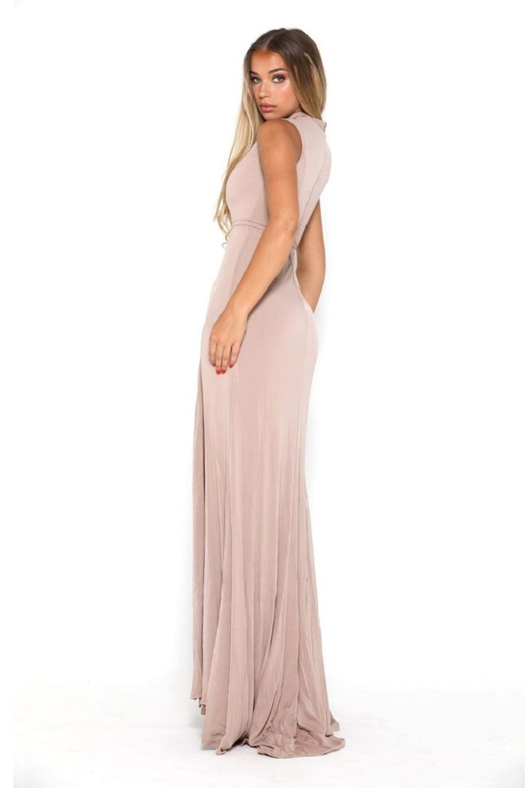 PORTIA AND SCARLETT Nude High Neck Long Semi-Formal Dress - Side Cropped Image