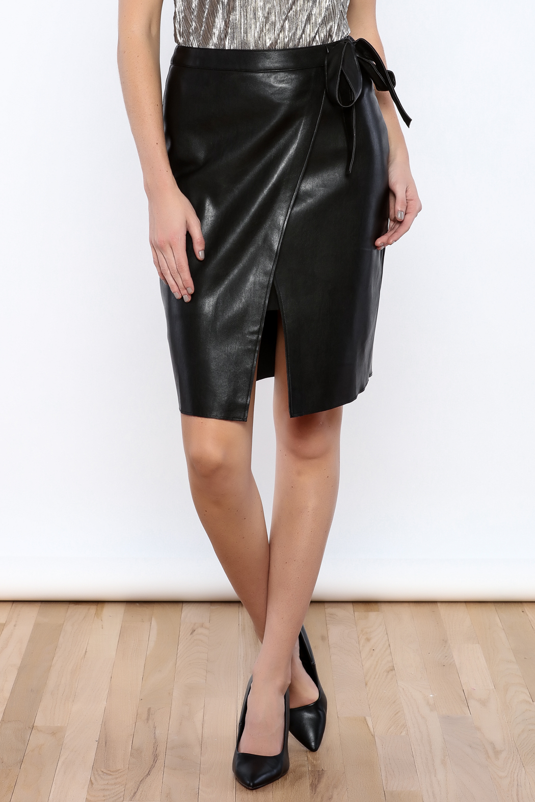 NUDE Faux Leather Wrap Skirt from San Diego by Pretty Seven ...